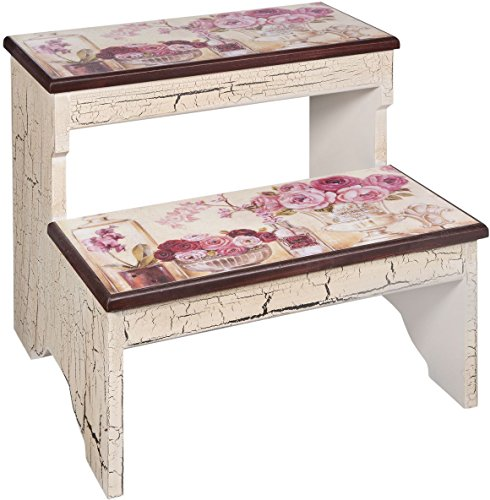 step stool with flowers
