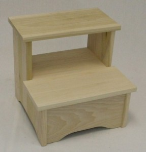 handmade handcrafted unfinished wooden step stool