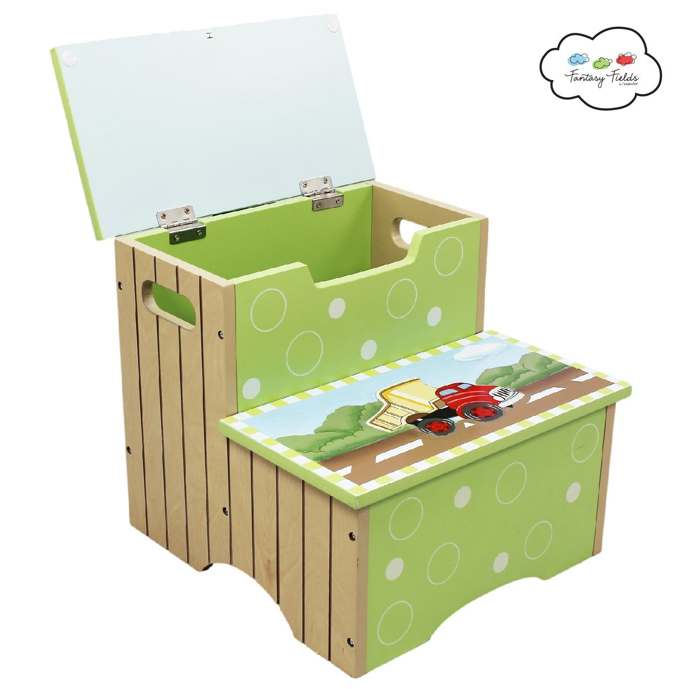 Wood Two Step Stool For Toddlers With Storage
