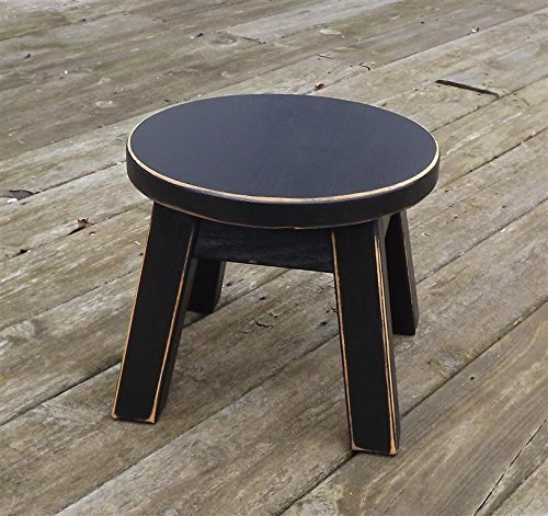 Built From Solid Wood This Round Wooden Step Stool Is Handcrafted At The Time Of Purchase Then Painted Black With Distress Details