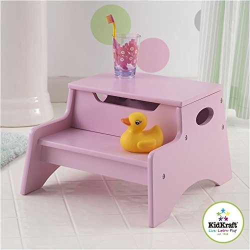 wooden step stool kids pink